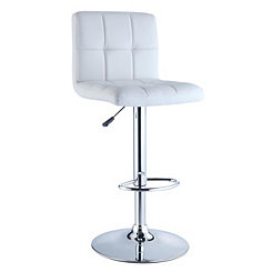 White Faux Leather Adjustable Bar Stool