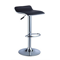 Backless Black Adjustable Bar Stools, Set of 2