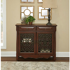 Light Cherry Scroll 2-Door Console Table