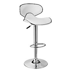 Chrome and White Adjustable Bar Stool