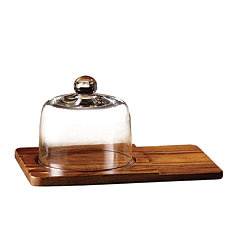 Madera Cheese Board With Glass Cloche