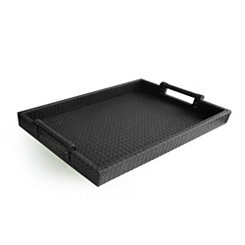 Black Faux Leather Serving Tray