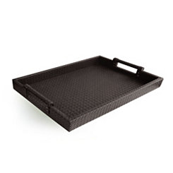 Brown Faux Leather Serving Tray
