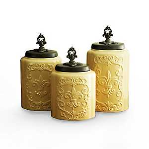 Cream Antique Canisters, Set of 3
