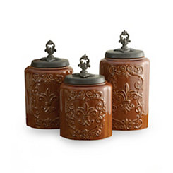 Brown Antique Canisters, Set of 3