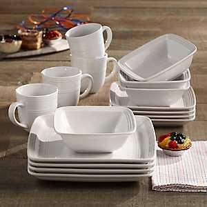 Square White Madelyn 16-pc. Dinnerware Set