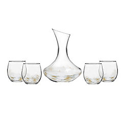 Simone White and Gold 5-pc. Decanter Set