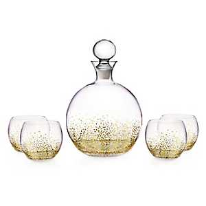 Round Gold Luster 5-pc. Decanter Set