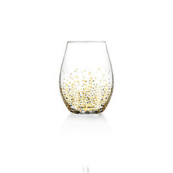 Stemless Gold Luster Wine Glasses, Set of 4