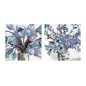 Soft Blues Centerpiece Canvas Art Prints, Set of 2