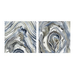 Indigo Stone Pattern I Canvas Art Prints, Set of 2