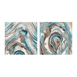 Teal Stone Pattern I Canvas Art Prints, Set of 2