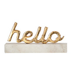 Gold Hello Marble Word Block