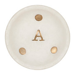 Gold Dot Stone Monogram A Trinket Tray