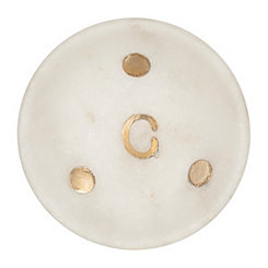 Gold Dot Stone Monogram C Trinket Tray