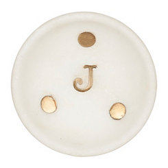 Gold Dot Stone Monogram J Trinket Tray