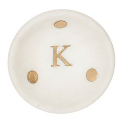Gold Dot Stone Monogram K Trinket Tray