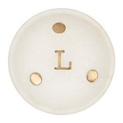 Gold Dot Stone Monogram L Trinket Tray