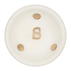 Gold Dot Stone Monogram S Trinket Tray