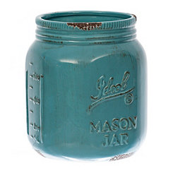 Turquoise Ideal Mason Jar Utensil Holder
