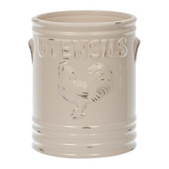 Cream Vintage Rooster Utensil Holder