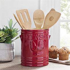 Red Rooster Ceramic Utensil Holder