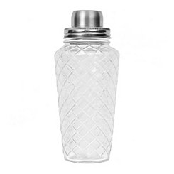 Diamond-Cut Glass and Silver Cocktail Shaker