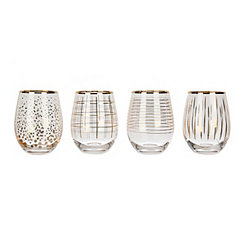 Modern Gold Stemless Wine Glasses, Set of 4