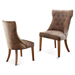 Rustic Button Tufted Dining Chairs, Set of 2