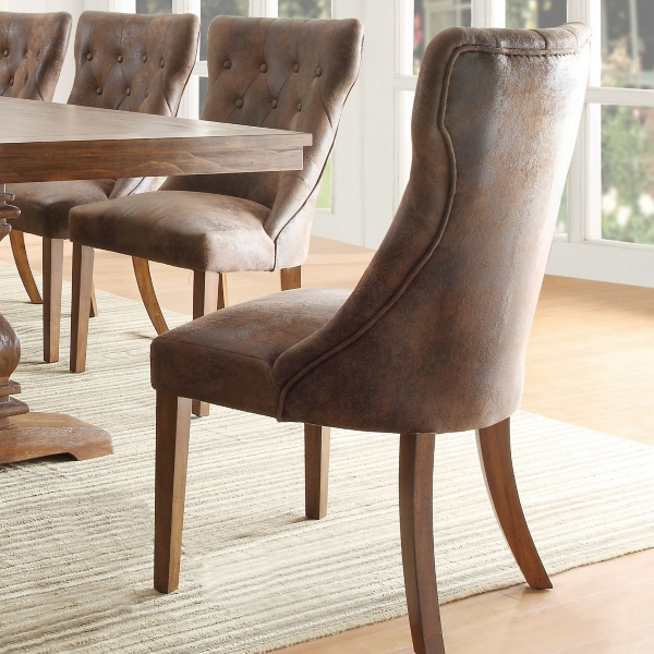 rustic button tufted dining chairs set of 2