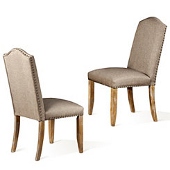 Light Brown Linen Dining Chair, Set of 2