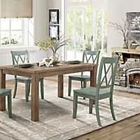 Country Teal Criss-Cross Dining Chairs, Set of 2