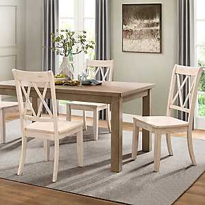 Country White Criss-Cross Dining Chairs, Set of 2