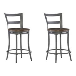 Cherry and Gunmetal Swivel Counter Stool, Set of 2