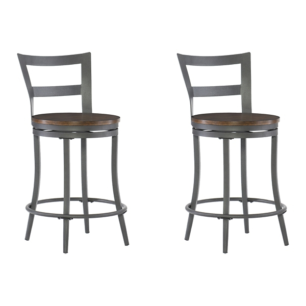 cherry and gunmetal swivel counter stool set of 2