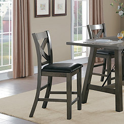 Rustic X-Back Counter Chair, Set of 2