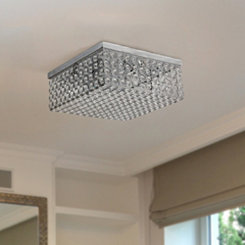 Square Crystal Flush Mount Ceiling Light