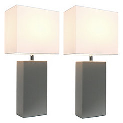 Gray Leather Table Lamps, Set of 2