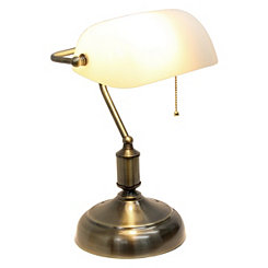 Antique Nickel Banker's Desk Lamp
