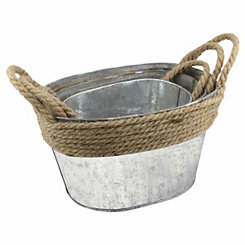 Braided Rope Galvanized Metal Buckets, Set of 3