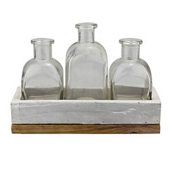 3-pc. Glass Bottle Set With Cement And Wood Tray