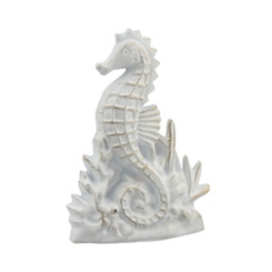 White And Gold Seahorse Door Stopper
