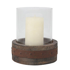Rustic Wood And Glass Pillar Candle Holder