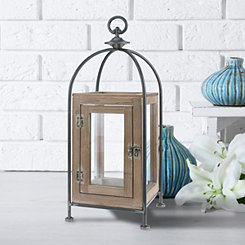 Distressed Wood and Metal Pillar Lantern