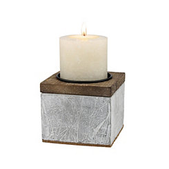 Rustic Cement and Wood Pillar Candle Holder, 4 in.