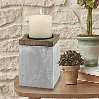 Rustic Cement and Wood Pillar Candle Holder, 6 in.