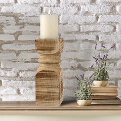 Carved Natural Wood Pillar Candle Holder