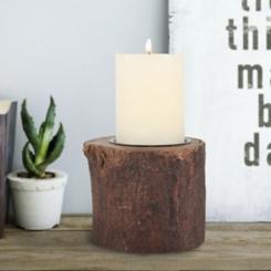 Natural Wood Bark Pillar Candle Holder