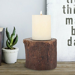 Natural Wood Bark Pillar Candle Holder