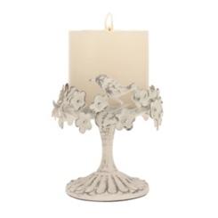 Antique White Floral Bird Pillar Candle Holder